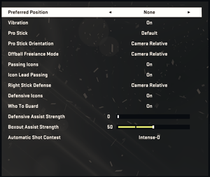 In-game gamepad settings.