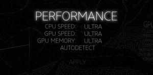 Performance settings.