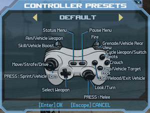 In-game gamepad layout settings.