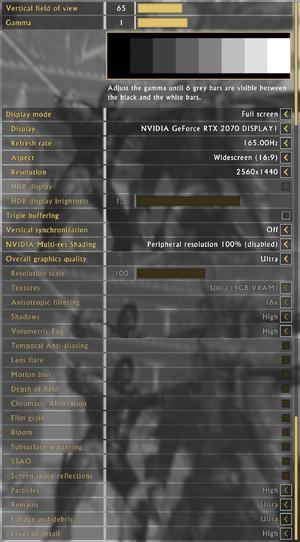 Display and graphics settings