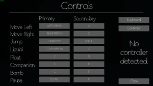Settings for keyboard control.