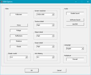 External options menu.