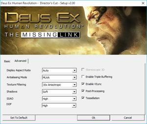 External advanced video settings.