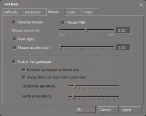 In-game mouse/gamepad settings.