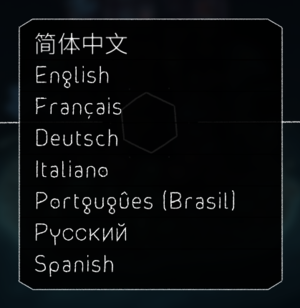 Language selection.