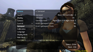 In-game gamepad settings.