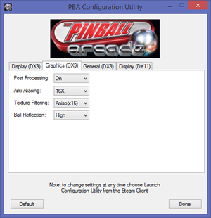 DirectX 9 graphics settings.