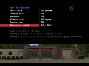 RBRvr Configuration Settings