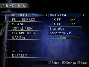 In-game video options menu