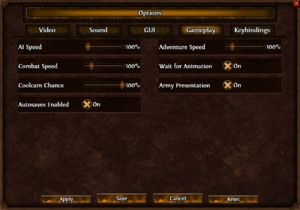 In-game General/Gameplay settings