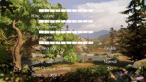 In-game audio settings