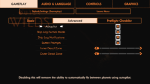 Advanced gameplay settings