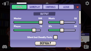 In-game audio output settings.