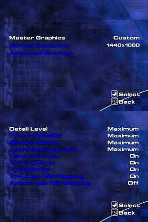 Video settings menus.