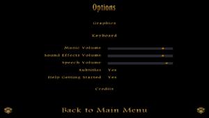 In-game audio settings/options menu.