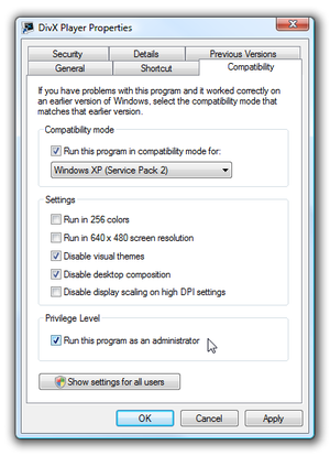 Windows Vista/7 Compatibility Settings.