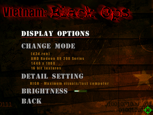 Display options menu.