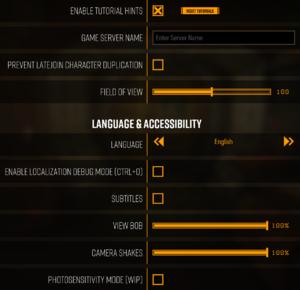Gameplay settings