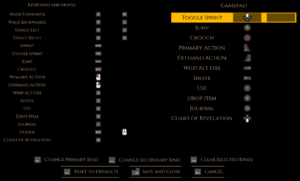 In-game keybind settings.