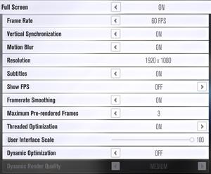 Video settings (Basic).