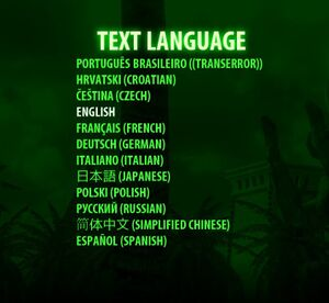 Text Language Settings