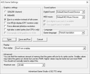 General settings from winsetup.exe.