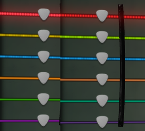 Demonstrating the Rocksmith 2014 color blind differences during tuning. Left side is color blind disabled, right side is enabled.