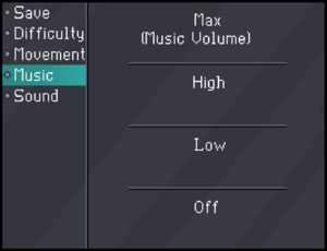 In-game music volume settings.