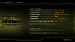 In-game general video/audio settings.
