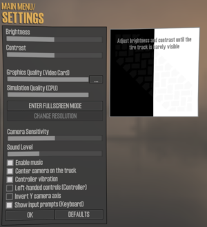 Main game settings