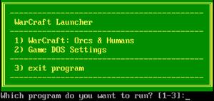 DOSBox options menu.