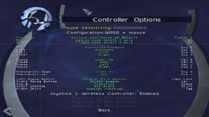 Control options.