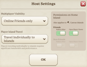In-game host settings.