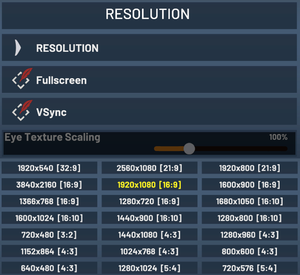 Resolution settings.