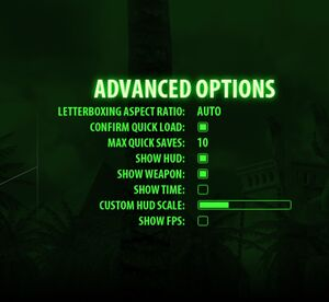 Advanced settings.