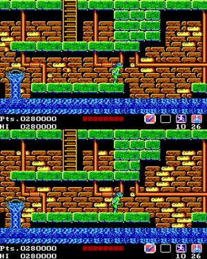 Top: Platform layout in the original North American release. Bottom: The corrected section used in later versions.