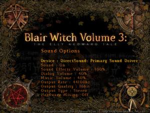 Sound options menu.