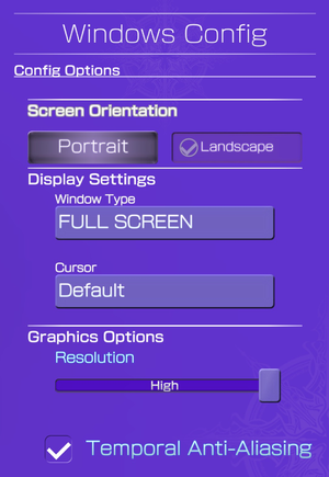Graphics settings.