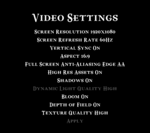 Video settings with High Res Assets enabled (using Caspian.exe)