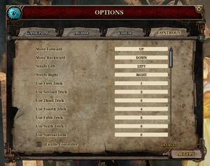 Input settings with controller disabled.