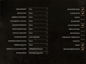 Advanced graphic settings