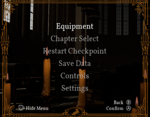 Input settings option in pause menu. With Steam version of the game, option opens up controller settings in Steam overlay.