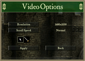 In-game video settings (Stronghold HD).