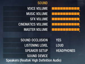 Sound settings[Note 5]
