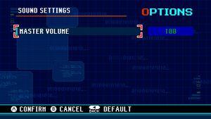 Audio option menu.