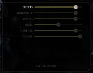 Audio settings menu.