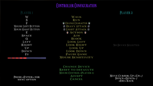 Controller configuration settings (Keyboard and mouse)