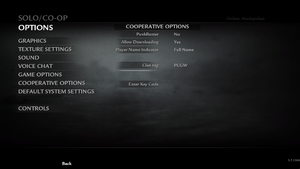In-game cooperative/multiplayer settings.