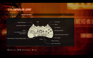 In-game gamepad layout settings for vehicles.