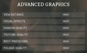 Advanced graphics settings.